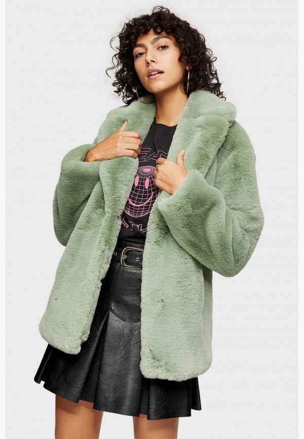женская шуба topshop, зеленая