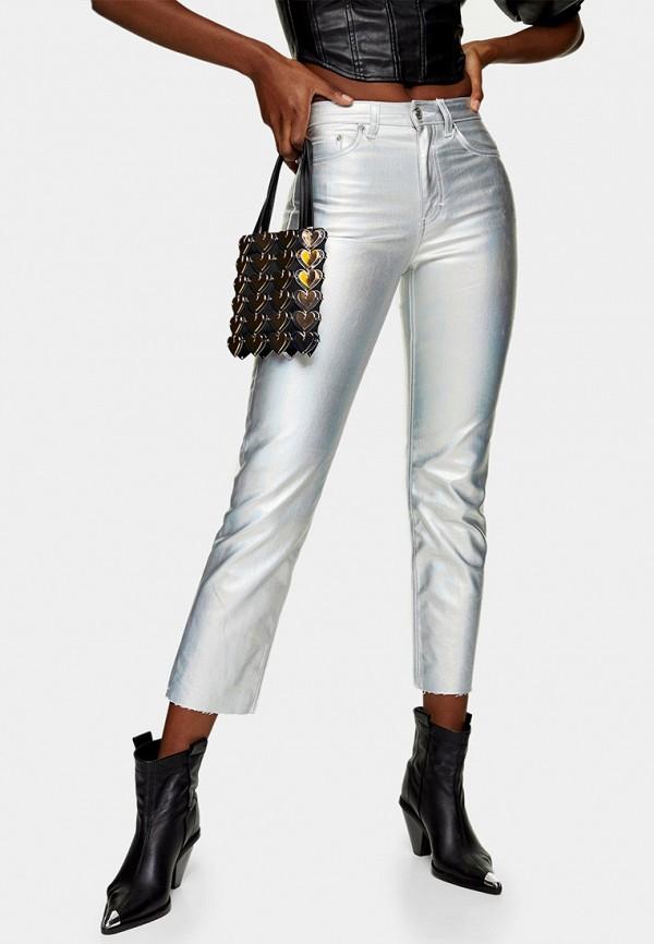 женские повседневные брюки topshop, серебряные