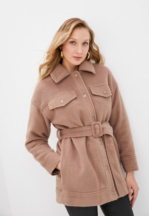 женское пальто topshop, коричневое
