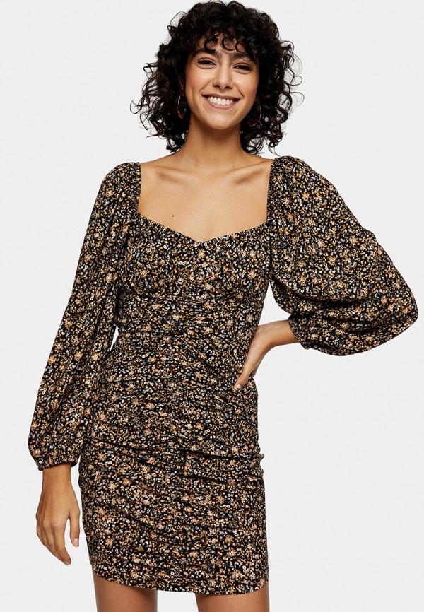 женское платье-футляр topshop, коричневое