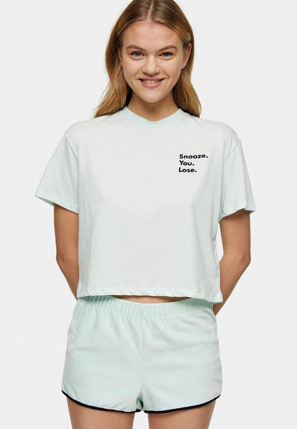 женская пижама topshop, зеленая