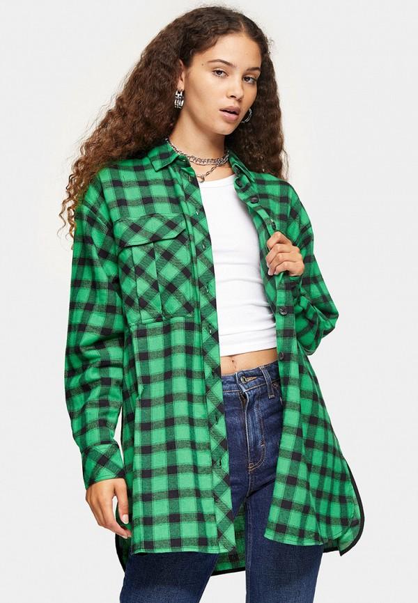 женская рубашка с длинным рукавом topshop, зеленая
