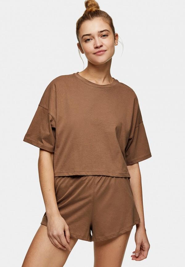 женская пижама topshop, коричневая