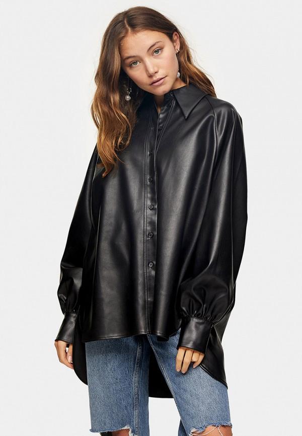 женская рубашка с длинным рукавом topshop, черная