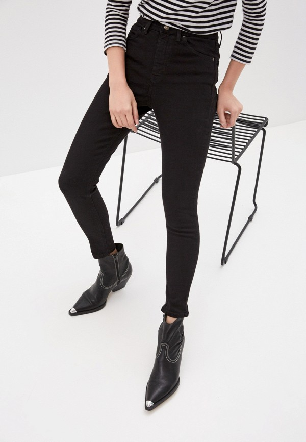 женские джинсы-мом topshop, черные