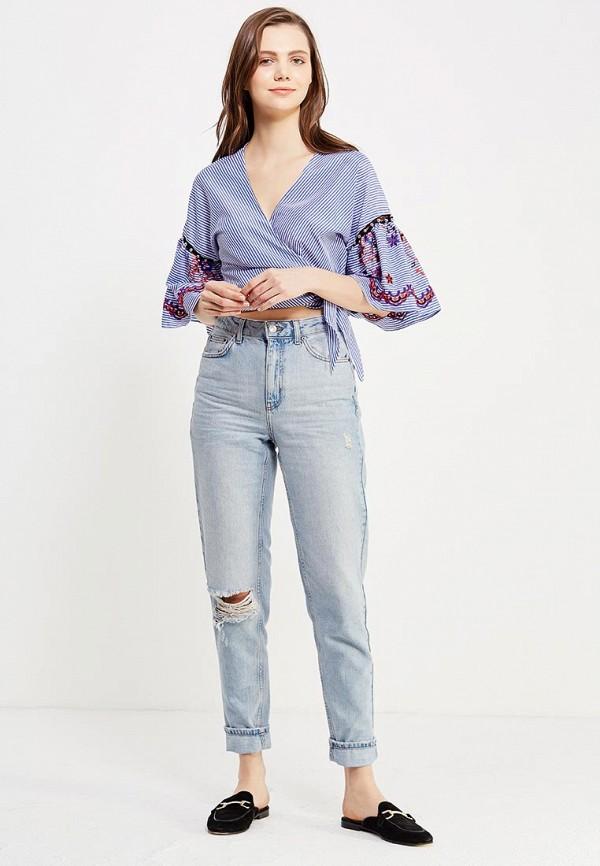 Фото 5 - женскую блузку Topshop синего цвета