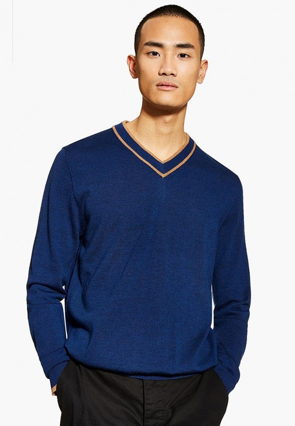 мужской пуловер topman, синий