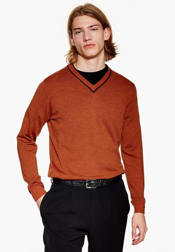 мужской пуловер topman, оранжевый