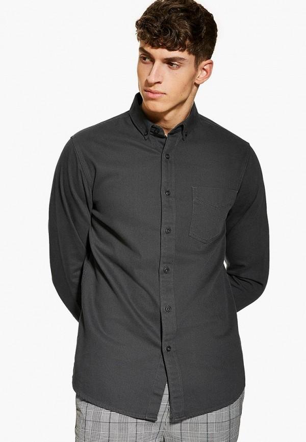 мужская рубашка с длинным рукавом topman, серая