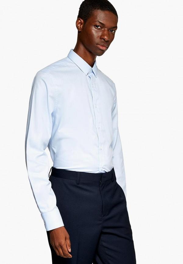 мужская рубашка с длинным рукавом topman, голубая
