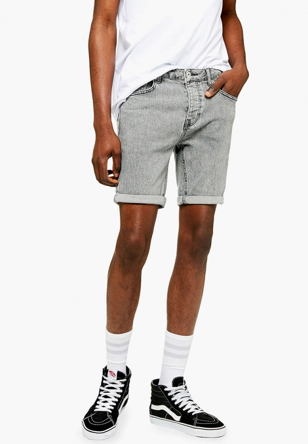 мужские джинсовые шорты topman, серые