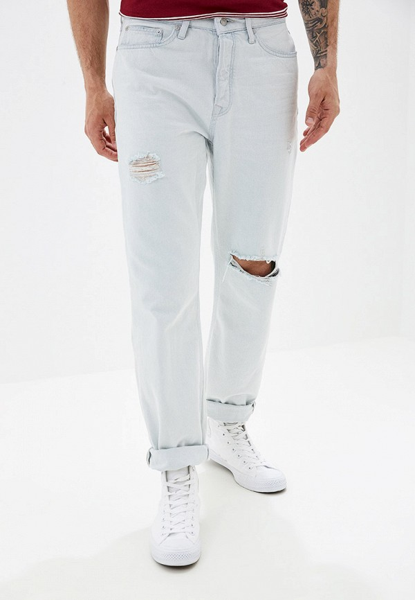 мужские прямые джинсы topman, голубые