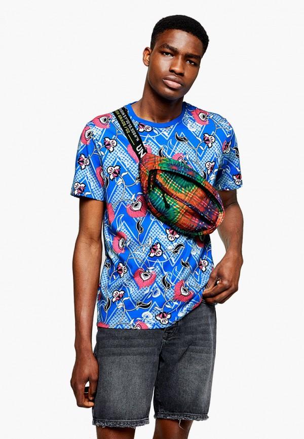 мужская футболка с коротким рукавом topman, голубая