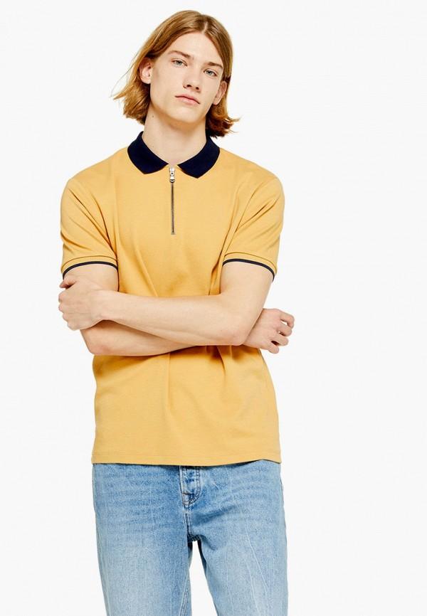 мужское поло topman, желтое