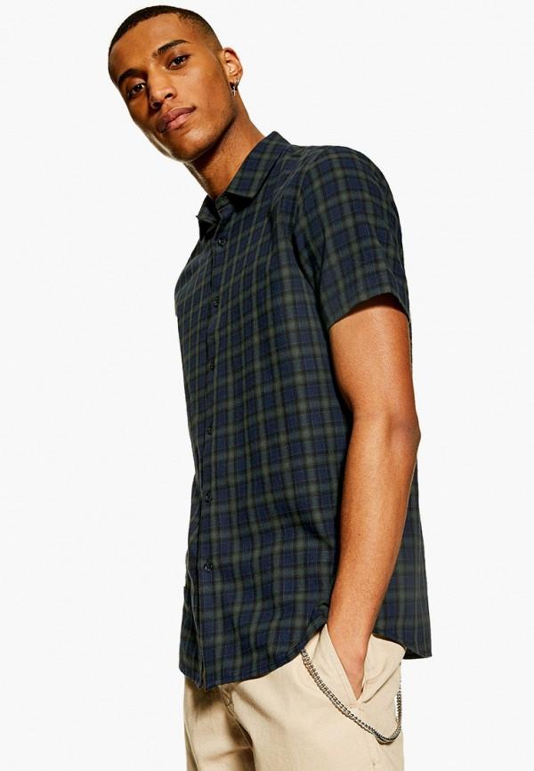 мужская рубашка с коротким рукавом topman, синяя