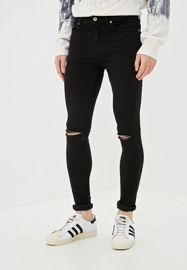 мужские зауженные джинсы topman, черные