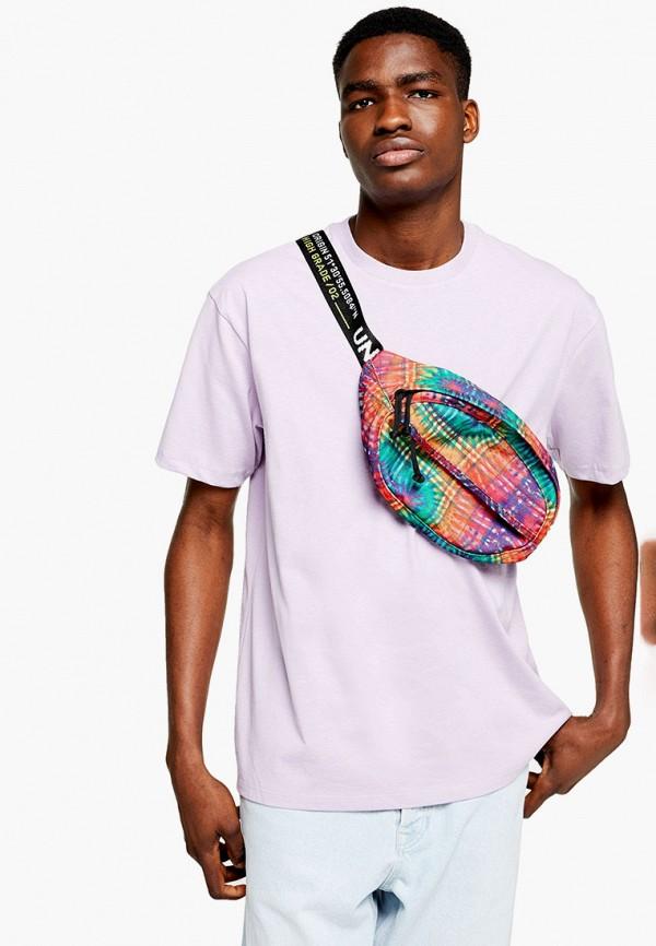 мужская футболка с коротким рукавом topman, фиолетовая