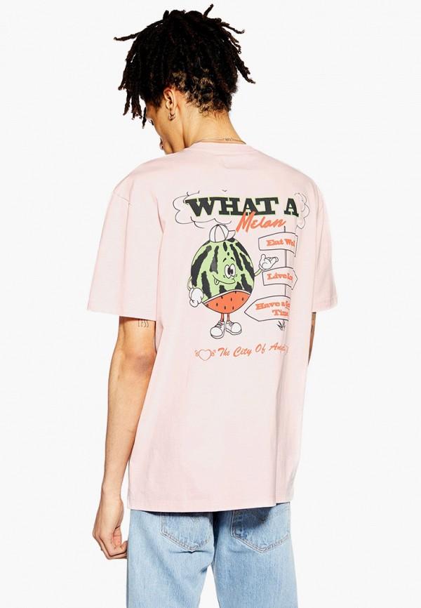 Фото 2 - мужскую футболку Topman розового цвета