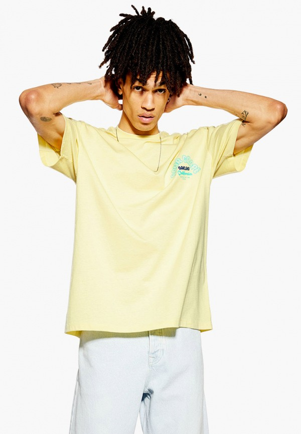 мужская футболка с коротким рукавом topman, желтая