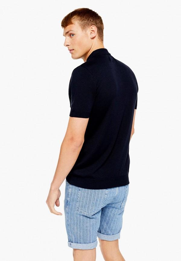 Фото 2 - мужское поло Topman синего цвета