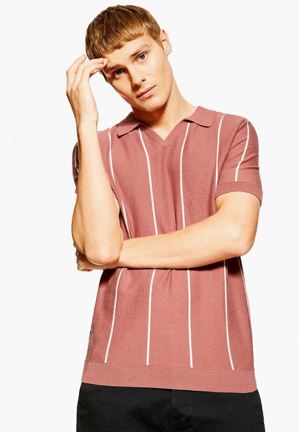 мужское поло topman, розовое