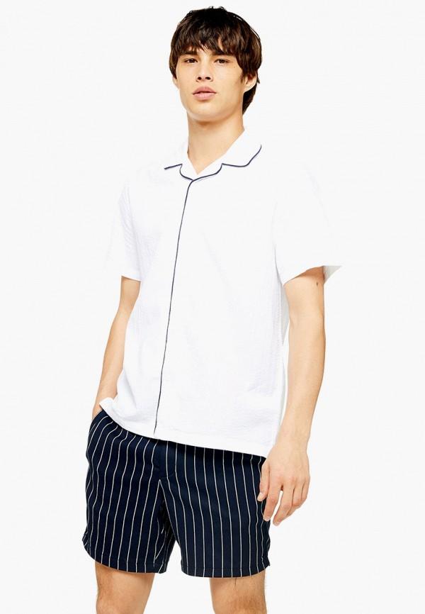 мужская рубашка с коротким рукавом topman, белая