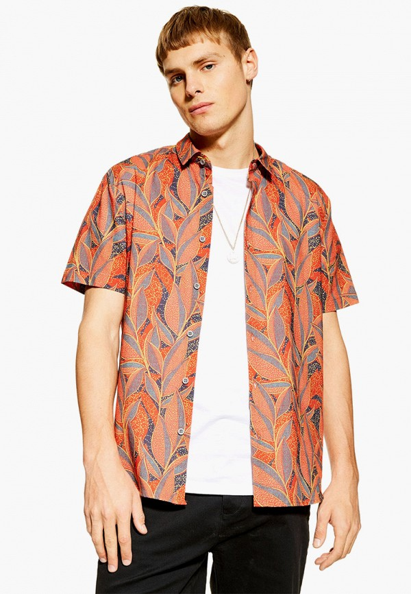 мужская рубашка с коротким рукавом topman, оранжевая