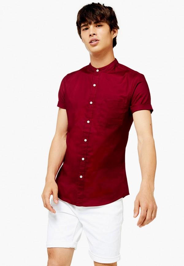 мужская рубашка с коротким рукавом topman, бордовая