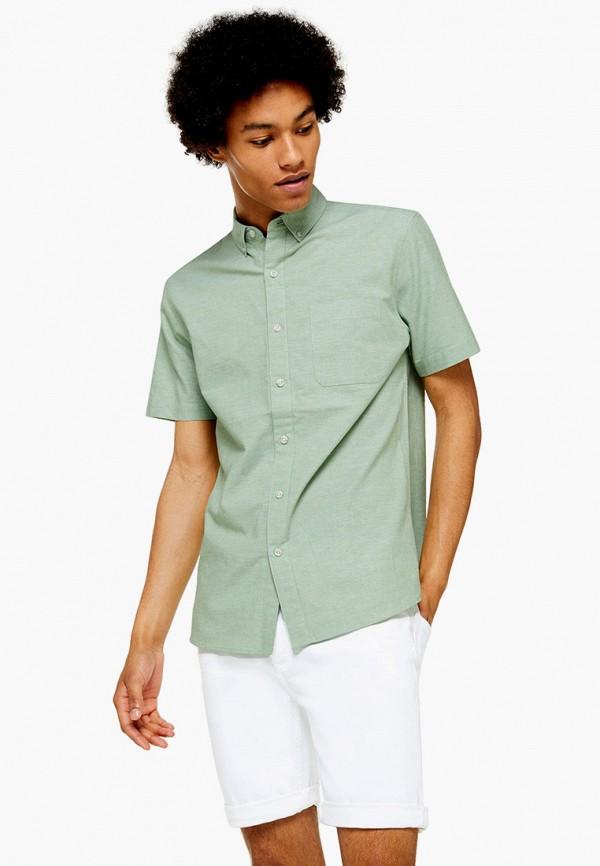 мужская рубашка с коротким рукавом topman, зеленая