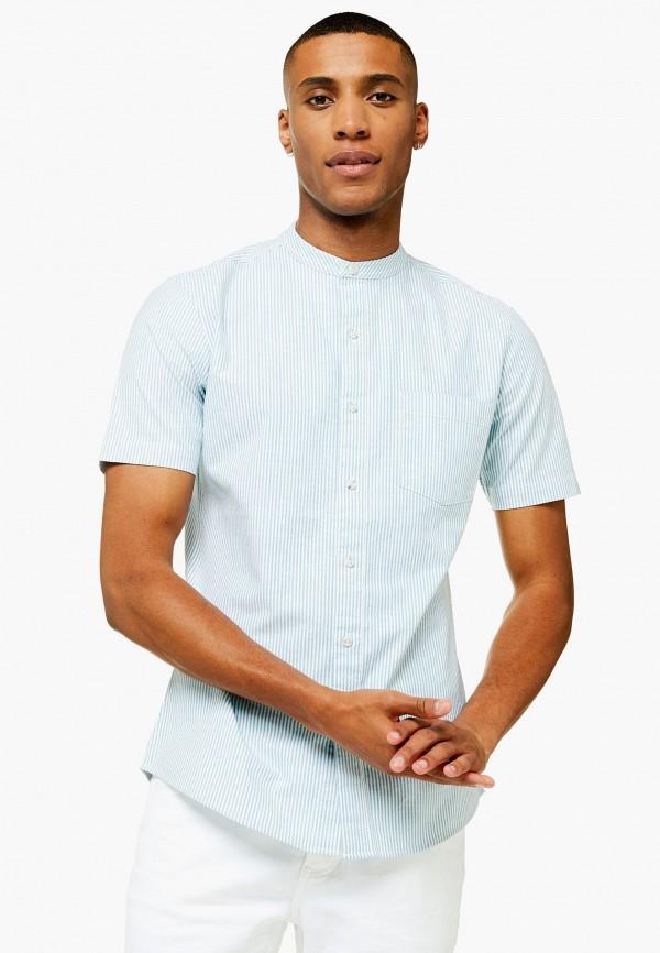 мужская рубашка с коротким рукавом topman, голубая