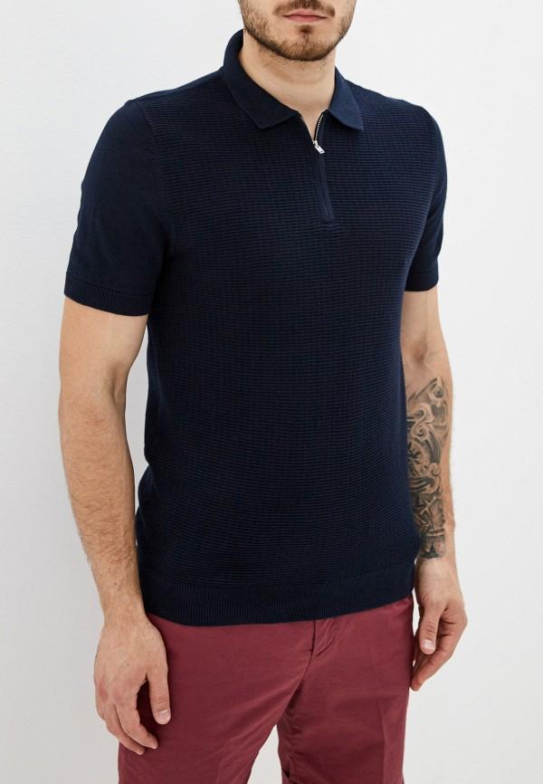мужское поло topman, синее
