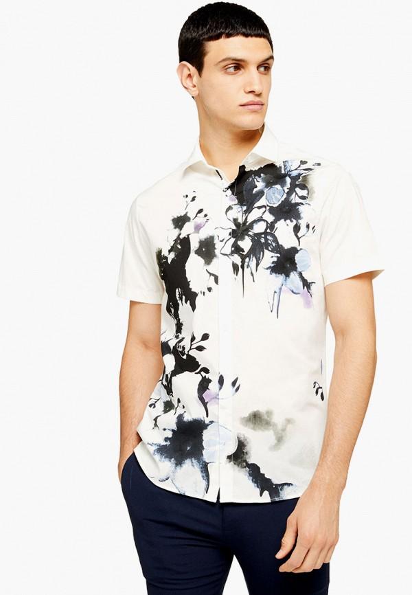 мужская рубашка с коротким рукавом topman, бежевая