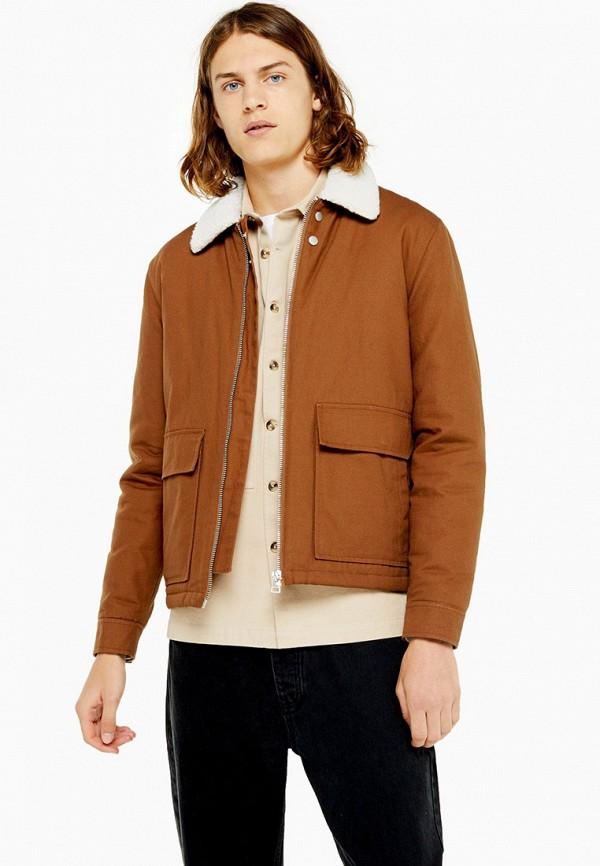 мужская куртка topman, коричневая