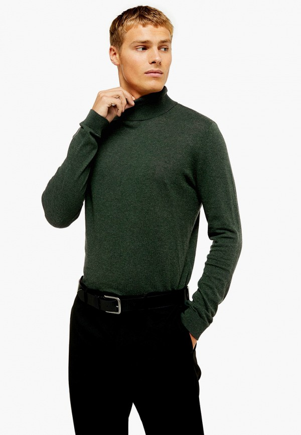 мужская водолазка topman, зеленая
