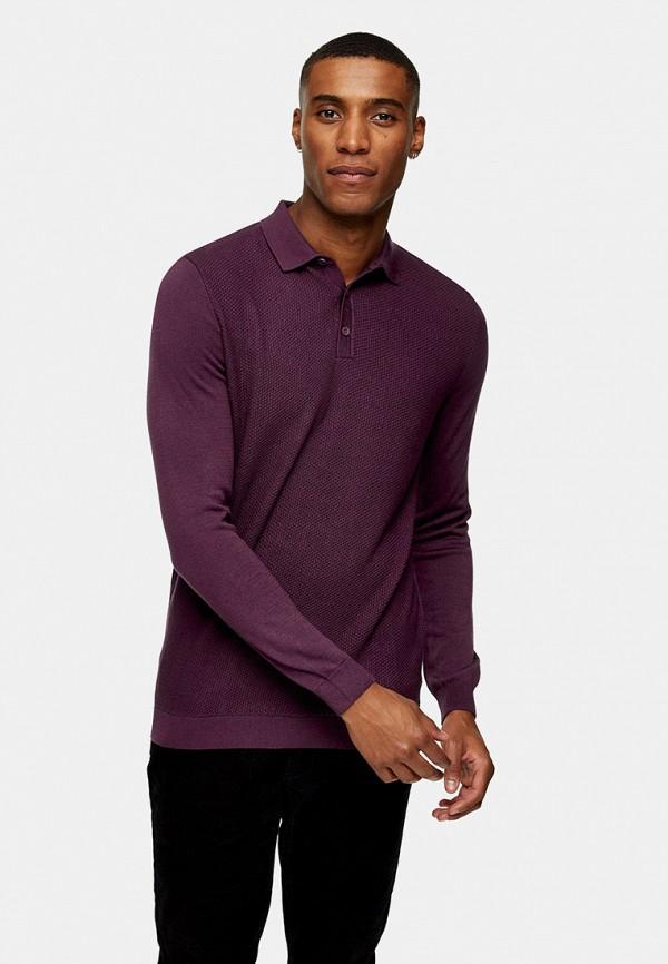 мужское поло topman, фиолетовое