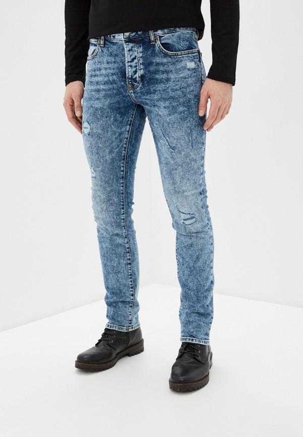 мужские зауженные джинсы topman, голубые