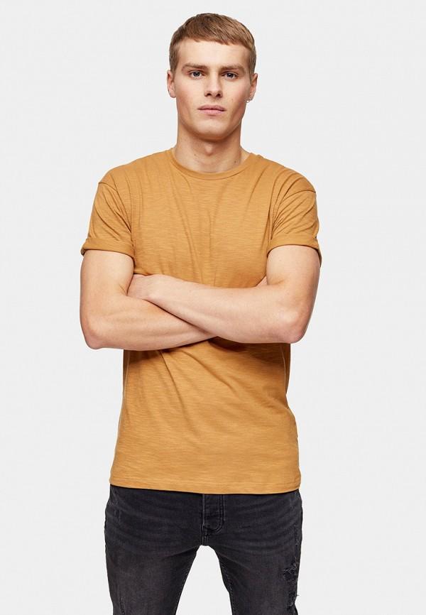 мужская футболка с коротким рукавом topman, коричневая