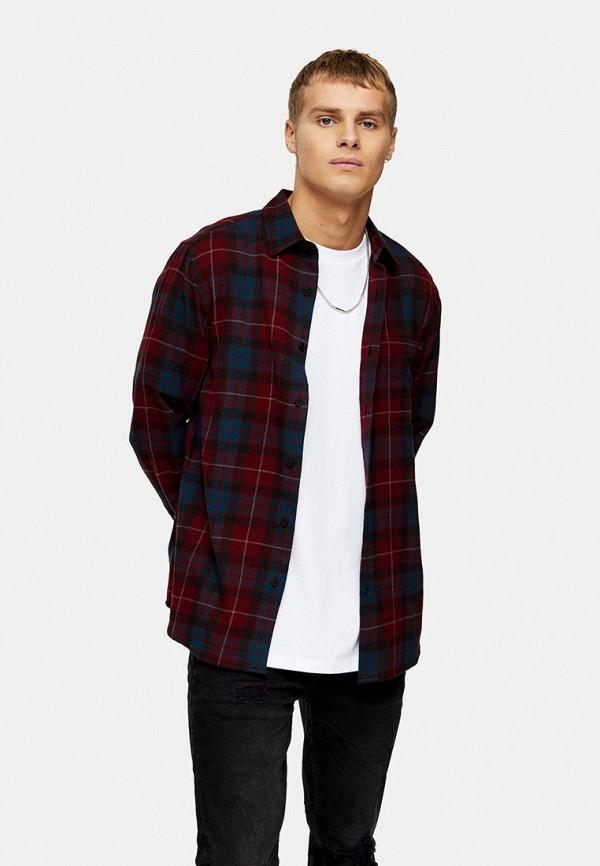 мужская рубашка с длинным рукавом topman, бордовая