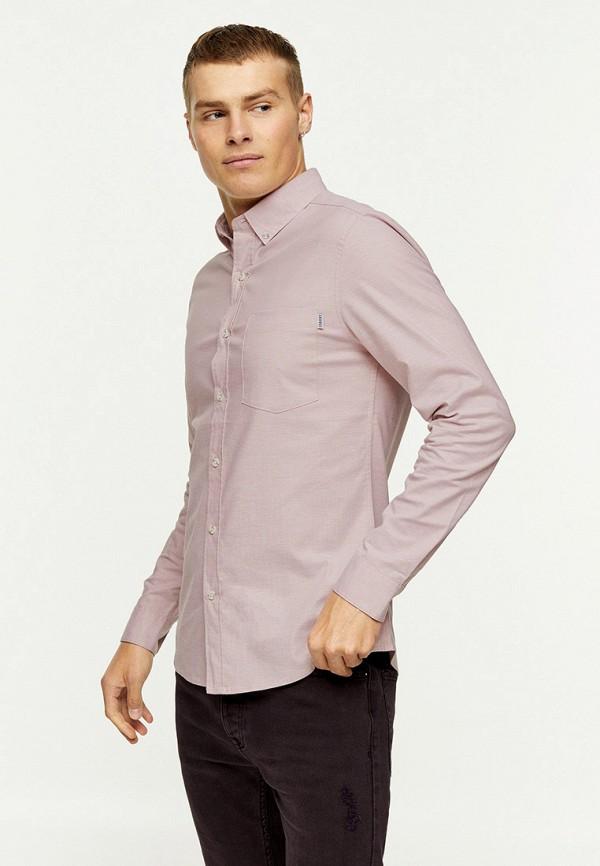 мужская рубашка с длинным рукавом topman, розовая