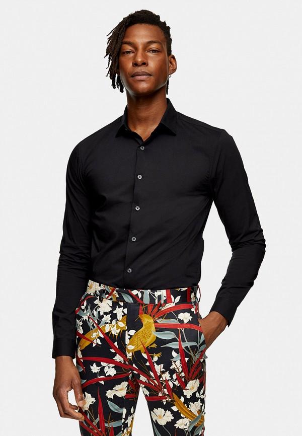 мужская рубашка с длинным рукавом topman, черная