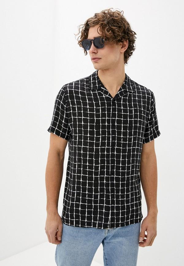 мужская рубашка с коротким рукавом topman, черная