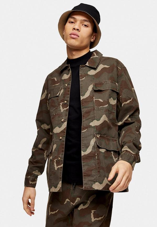 мужская рубашка с длинным рукавом topman, хаки