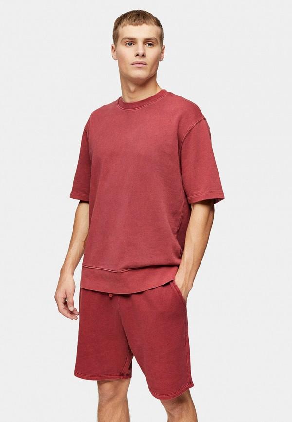 мужская футболка с коротким рукавом topman, красная