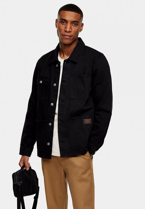 мужская джинсовые куртка topman, черная