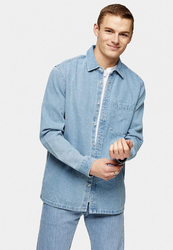 мужская джинсовые рубашка topman, голубая