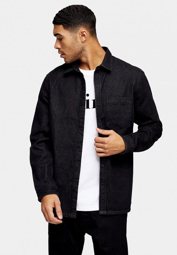 мужская рубашка с длинным рукавом topman, синяя