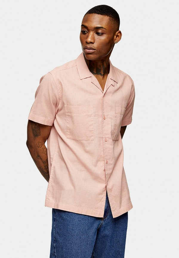 мужская рубашка с коротким рукавом topman, розовая