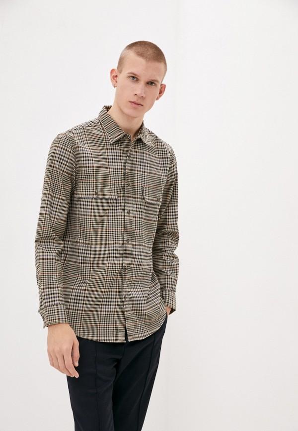 мужская рубашка с длинным рукавом topman, бежевая