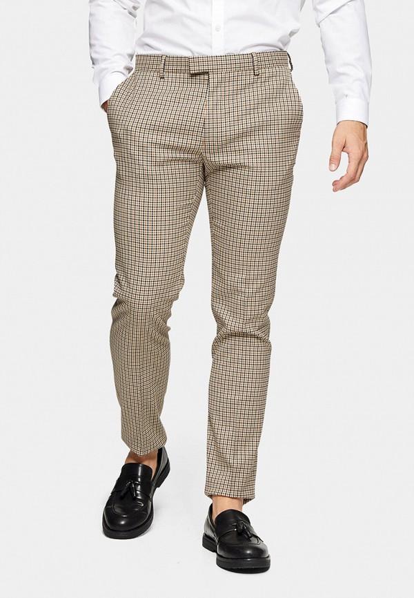 мужские зауженные брюки topman, бежевые