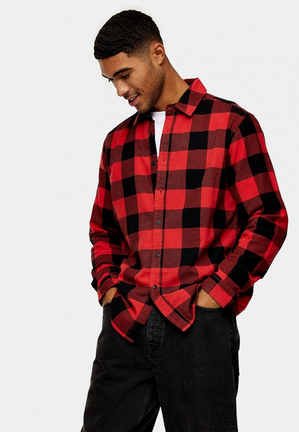мужская рубашка с длинным рукавом topman, красная